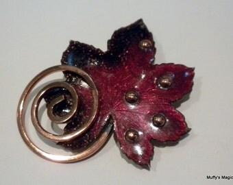 Vintage Matisse Renoir Copper Brooch Red Enamel Leaf
