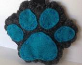 Blue dog paw keychain, i love dogs, felt keychain