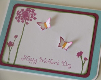 Mother's Day Card with Flowers and Butterflies, Greeting Card for Mom, Stamped Happy Mothers Day (MD1410)