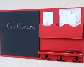 Message Center - Mail Organizer - Chalkboard - Key Hooks - Shelf