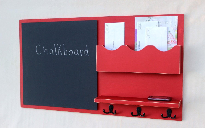 Message Center Mail Organizer Chalkboard Key Hooks