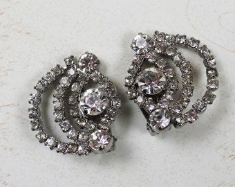 Vintage Rhinestone Swirl Clip On Earrings