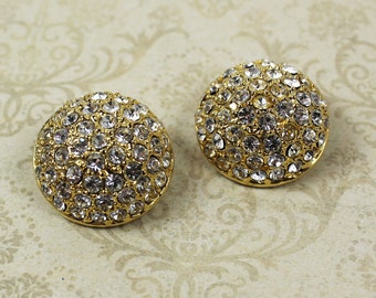 Vintage 1980s Heavy Gold Rhinestone Round Domed Clip On Earrings