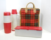 Vintage Thermos Picnic Set // Coffee Soup Lunch Box & Scotch Plaid Carrier 1960s