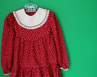 Vintage 1970s Girl's Floral Dress with White Bib - Size 6