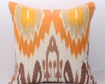 15x15 ikat pillow cover, orange, white, brow, ikat cushion, ikat slipcover