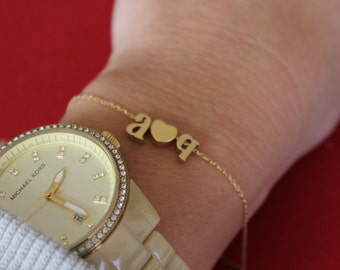 Tiny Gold lowercase Initial and Heart Bracelet...Small Initial Bracelet...sweetheart bracelet...bridal party jewelry gift idea birthday