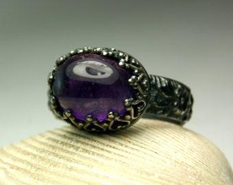 Gothic Style Amethyst Ring, Black Silver Stone Ring, Febuary Birthstone, Sterling African Amethyst Ring