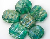 Lampwork Glass Beads, Teal Green & Silver Handmade Beads SRA