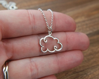 Small cloud necklace in sterling silver, pendant necklace, silver lining, outline, cloud pendant, nature inspired, everyday jewelry