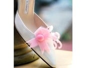 Shoe Clips Breast Cancer Awareness. Feminine Bride Bridal Bridesmaid Couture, Beautiful Stylish Felt, Hope Care Love Faith Courage, Get Well