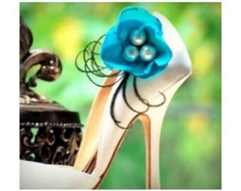 Wedding Shoe Clips. Something Blue Flower. Turquoise Aquamarine Ivory White Purple Pink Statement Fashion. Handmade Couture Bride Bridesmaid