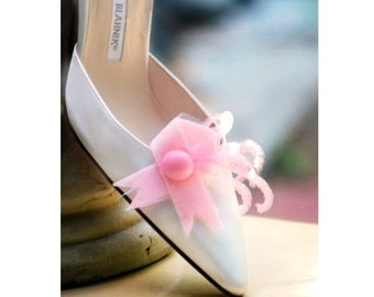 Shoe Clips Breast Cancer Awareness. Feminine Bride Bridal Bridesmaid Couture, Beautiful Stylish Felt, Hope Care Love Faith Courage, Get Well