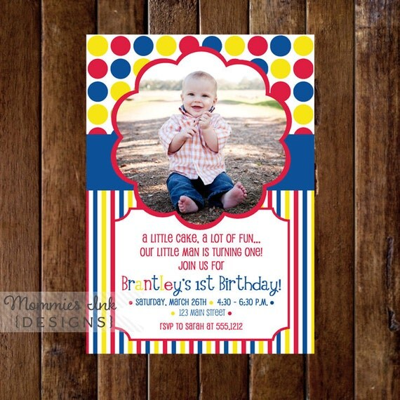 Primary Colors Dots and Stripes Photo Birthday Invite - PRINTABLE INVITATION DESIGN