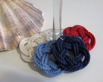 Nautical  Wine Charms Classic Cotton Colors Set of Four
