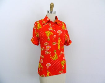 1970s Mod Shirt ... Vintage 70s Flapper Print Collared Shirt ... Size Small to Medium