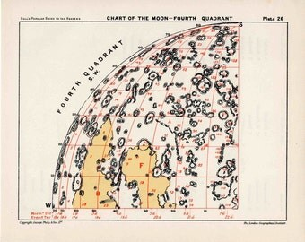1955 MOON QUADRANT 4 - original vintage print - astronomy celestial lunar landscape chart - crater & maria - fourth quadrant