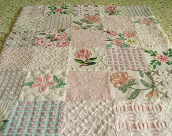 Rambling Rose Vintage Chenille Baby / Lap Quilt - Custom - Boutique quality handmade vintage chenille baby quilt