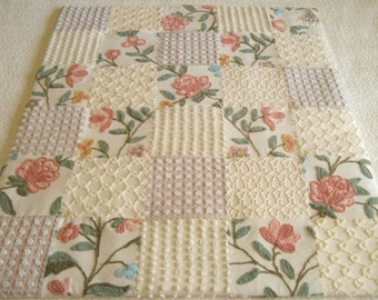"Custom Made - ""Botanical Rose"" Vintage Chenille Baby / Lap Quilt"