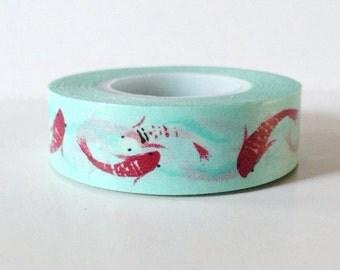 Koi Fish Washi Tape Red on Light Aqua Blue Paper Tape