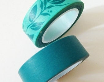 Teal Washi Tape Leaf Washi Tape Paper Tape for Gift Crafting