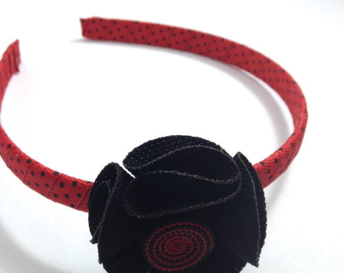 Red Black Hair Flower Headband