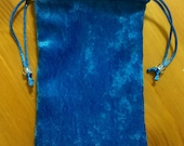 Lined Drawstring Blue Crushed Velvet and Satin Tarot Card Bag 4in x 6in