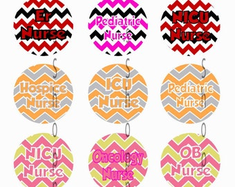 1 Inch Circle Images bottle cap name badge or other - Chevron RN LPN Nurse Hospital Nicu Pediatric Oncology with Automatic Digital Download