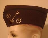 Military Hat  - Steampunk Cap -  Steam Punk Hat - Brown Hat - Flight Cap - Garrison Hat - Wedge Cap - Gears & Key - Women - Men - Unisex
