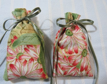 "Pink 3""X2""Sachet-'Flower Garden' Fragrance-Green Sachet-Cotton Gold Trim Floral Sachet-Sage Green Ribbon-Cindy's Loft-345"