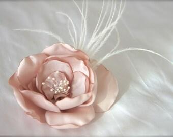 Wedding Hair Fascinator, Flower Feathers Bridal Headpiece Pearl stamen vintage blush pink, ivory, champagne organza satin Petals