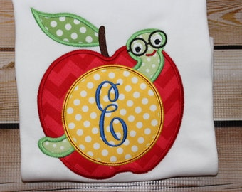 Personalized Apple with worm monogram initial Shirt