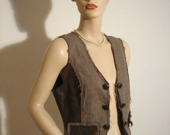 1990's De-Constructed Vest of Brown Leather and Cotton Plaid with Orange Random Decorative Stitching Lined in Olive Green Linen  Size: Small