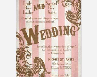 Vintage Wedding Invitation, Striped Wedding Invitation, Carnival Wedding, Vintage Wedding, Ornate Wedding, Classic Wedding, Modern Wedding