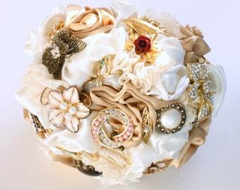 Medium Ivory and Champagne Bridal Wedding Brooch Bouquet