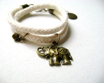 Double wrap lucky elephant bracelet - Double wrap cotton cord natural elephant lucky charm boho bracelet rope bracelet. everyday - urban