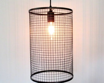Hanging PENDANT Light Cage with Edison Bulb Industrial Modern