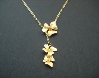 Bridesmaid Necklace, 16K Gold Plated Flowers Lariat Necklace