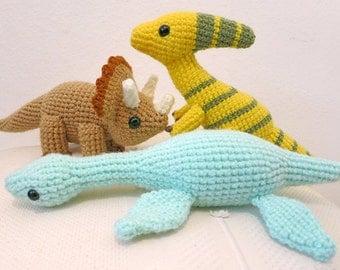 Crochet Dinosaur PATTERN BUNDLE 2 - Amigurumi Triceratops, Plesiosaurus,  Parasaurolophus Plush Dolls