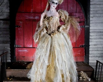 Custom Size ivory tea stained lace and Tulle burlesque dress Victorian Zombie Corpse Bride w head piece and bouquet costume Sm-XL