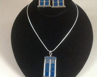 TARDIS Style Necklace & Earrings - Doctor Who