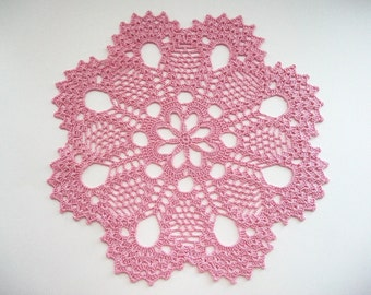 Crochet Doily Pink Cotton Lace Flower Center and Large Fan Edge with Picos Heirloom Quality