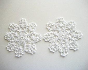 Crochet Little Doilies or Coasters White Cotton Lace 2 pcs