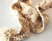 PomPom Scarf Cable Knit - Statement Accessory Brown and Oatmeal Beige Christmas In July