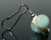 Zipper Pull - zipper pulls for purses - zipper pull charm - beaded zipper pull - serenity bead - ivory and blue - handmade lampwork glass