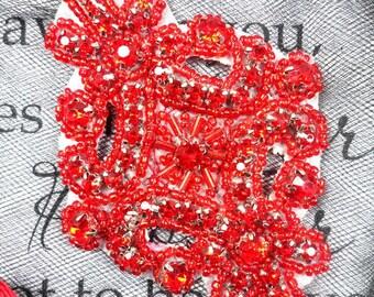 "JB115 Red Rhinestone Applique Red Beaded 4"" (JB115-rd)"