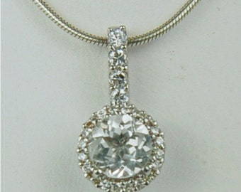 White Topaz Necklace Sterling Silver 6mm Round 1ct Surrounded By A Halo of CZ's