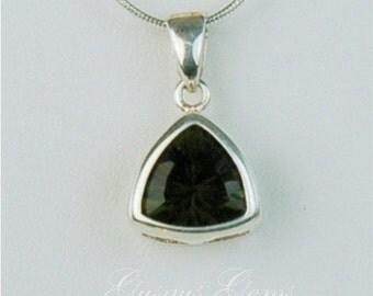 Moldavite Faceted Sterling Silver Necklace 10x10mm Trillion 2.35ct In Backset Bezel Natural Untreated
