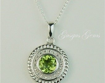 Peridot Sterling Silver Necklace 6mm .80ct Natural Untreated