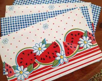 Summer's coming reversible oilcloth placemats with watermelons
